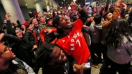 Toronto Raptors fans celebrate early Friday morning at a public telecast following the Raptors' defeat of the Golden State Warriors in game 6 of the NBA Finals to win the NBA Championship, in Halifax. (THE CANADIAN PRESS)