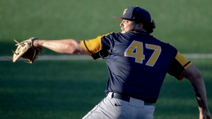 West Virginia pitcher Alek Manoah throws against Texas during an NCAA college baseball game Friday, April 26, 2019, in Austin, Texas. First-round pick Alek Manoah and four other draft selections were signed by the Toronto Blue Jays on Thursday. THE CANADIAN PRESS/AP, Nick Wagner/Austin American-Statesman