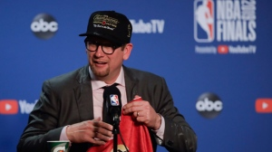 Toronto Raptors head coach Nick Nurse speaks at a news conference after the Raptors defeated the Golden State Warriors in Game 6 of basketball's NBA Finals in Oakland, Calif., Thursday, June 13, 2019. (AP Photo/Ben Margot)