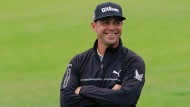 Gary Woodland smiles after finishing the second round in the U.S. Open golf tournament Friday, June 14, 2019, in Pebble Beach, Calif. (AP Photo/Carolyn Kaster)