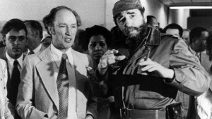 Prime Minister Pierre Trudeau looks on as Cuban President Fidel Castro gestures during a visit in Havana on Jan. 27, 1976. Canada's spy service destroyed a Cold War dossier on Pierre Trudeau in 1989 instead of turning it over to the national archives, The Canadian Press has learned. THE CANADIAN PRESS/Fred Chartrand