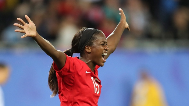 Canada's Nichelle Prince celebrates after scoring her side's second goal during the Women's World Cup Group E soccer match between Canada and New Zealand in Grenoble, France, Saturday, June 15, 2019. (AP Photo/Francisco Seco)