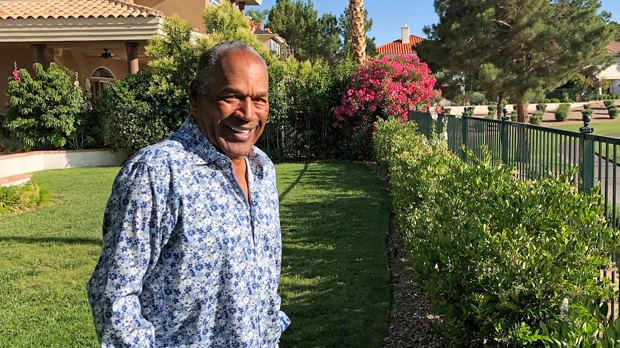 "This Monday, June 3, 2019 photo provided by Didier J. Fabien shows O.J. Simpson in the garden of his Las Vegas area home. Simpson has launched a Twitter account with a video post in which the former football star says he's got a ""little gettin' even to do."" Simpson confirmed the new account to The Associated Press on Saturday, June 15, 2019. He said in a phone interview it will be a lot of fun and that he had some things to straighten out.  (Didier J. Fabien via AP, File)"