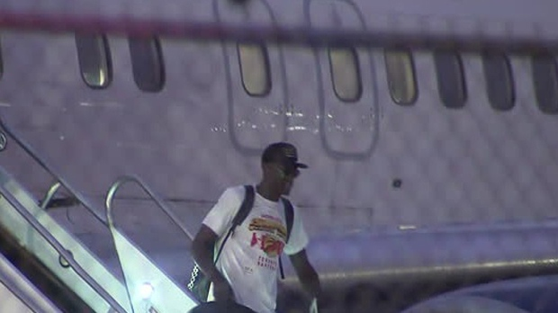 Pascal Siakam gets off his plane at Pearson on June 15, 2019. (CP24)