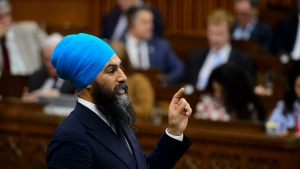 NDP Leader Jagmeet Singh stands during question period in the House of Commons on Parliament Hill in Ottawa on Wednesday, June 12, 2019. The federal New Democrats have been looking for a boost and they're hoping to get that on Sunday, when leader Singh presents the party's policy vision for the upcoming election campaign. THE CANADIAN PRESS/Sean Kilpatrick