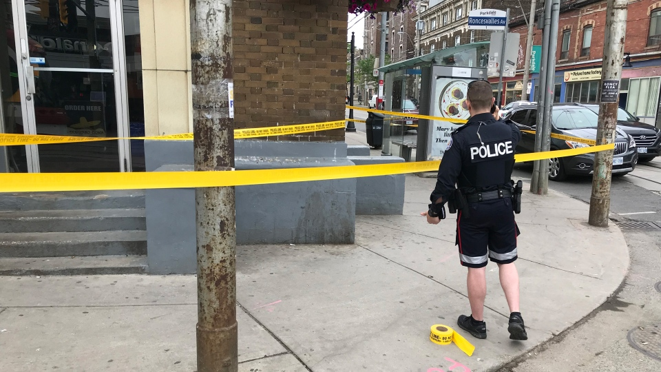 Police investigate a stabbing at  Queen Street West and Roncesvalles Avenue Sunday June 16, 2019. (Phil Fraboni /CTV News Toronto)