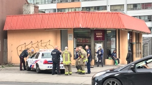 Police investigate an assault involving an acid in the area of Lansdowne Avenue and Dupont Street Sunday June 16, 2019. (Phil Fraboni /CTV News Toronto)