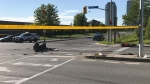 Police investigate a collision involving a motorcyclist at Evans and Horner avenues in Mimico Sunday June 16, 2019. (Phil Fraboni /CTV News Toronto)