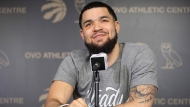 Toronto Raptors' Fred VanVleet takes questions from the media in Toronto on Sunday, June 16, 2019. THE CANADIAN PRESS/Chris Young