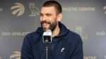 Toronto Raptors' Marc Gasol takes questions from the media during a press conference following their NBA Championship win, in Toronto on Sunday, June 16, 2019. THE CANADIAN PRESS/Chris Young