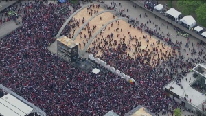 Raptors fans swarm Nathan Phillips Square ahead of a parade celebrating the NBA champion Raptors on Monday.