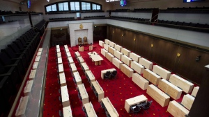 "The new temporary Senate Chamber at the Senate of Canada Building, formerly the Government Conference Centre, is shown in Ottawa on December 13, 2018. An independent senator is on a mission to get members of Canada's upper house to stop being so nasty to each other on social media. Tony Dean says recent exchanges on Twitter involving senators and their staff have included ""aggressive, harassing and, in some cases, bullying"" behaviour. THE CANADIAN PRESS/Justin Tang"