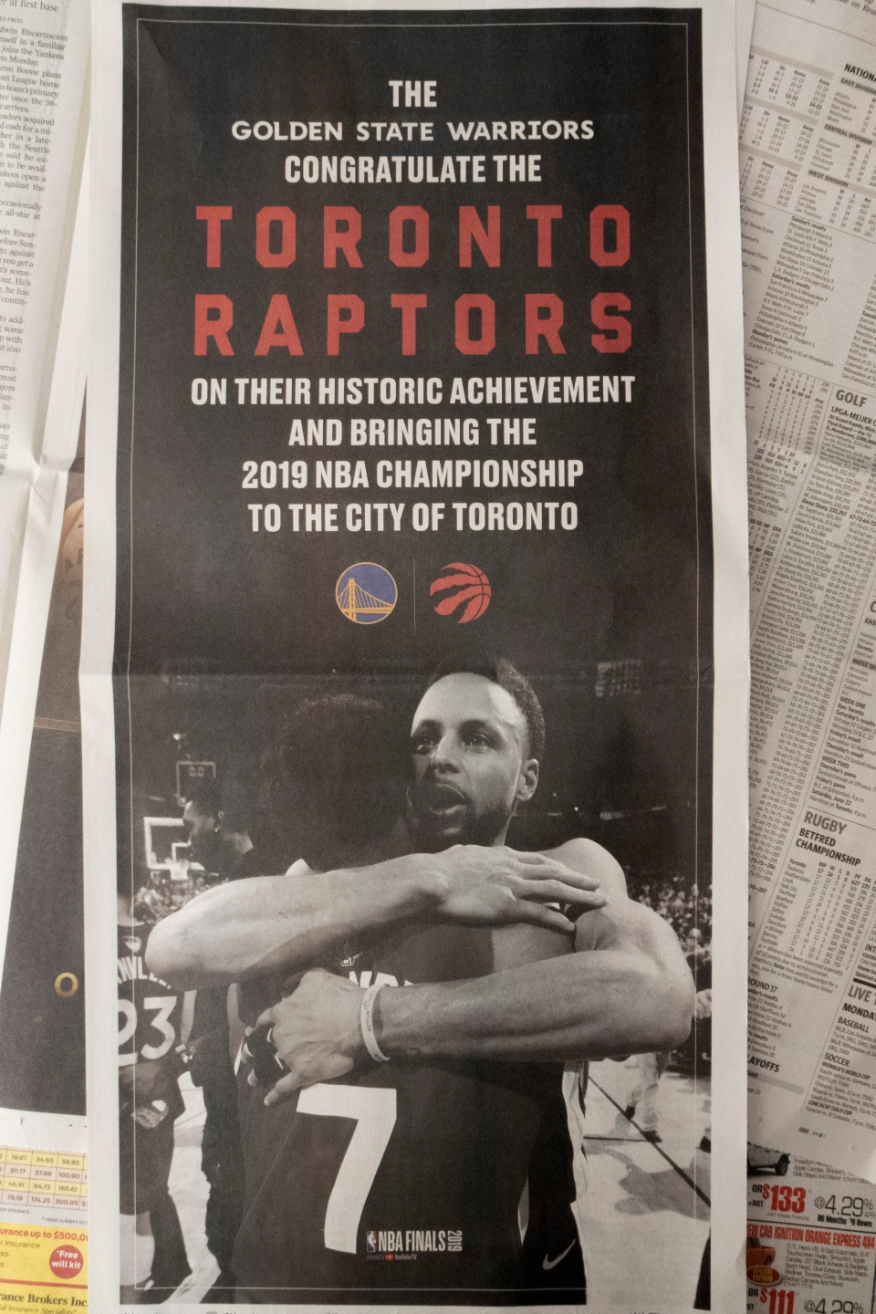 A full-page ad in the Toronto Star from the Golden State Warriors congratulating the Toronto Raptors on their NBA Championship is shown in Toronto on Monday, June 17, 2019. THE CANADIAN PRESS/Graeme Roy