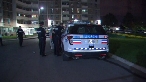 Police respond to a shooting in the area of Willowridge Road and Eglinton Avenue Monday June 17, 2019.