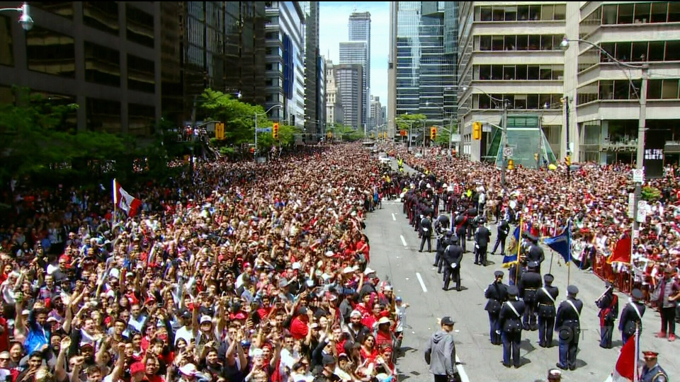 Thousands of fans cheer at Toronto City Hall during the 2019 Toronto Raptors Championship parade in Toronto, on Monday, June 17, 2019. THE CANADIAN PRESS/Nathan Denette
