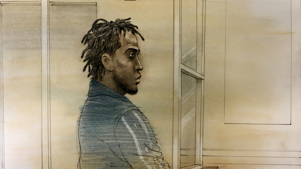 Shaquille Miller, 25, is shown in a court sketch on June 18, 2019. (John Mantha)
