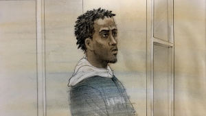 Thanio Toussaint, 20, is shown in a court sketch from June 18, 2019. (John Mantha)