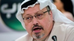 """FILE - In this Dec. 15, 2014 file photo, Saudi journalist Jamal Khashoggi speaks during a press conference in Manama, Bahrain. An independent U.N. human rights expert investigating the killing of Saudi journalist Jamal Khashoggi is recommending an investigation into the possible role of Saudi Crown Prince Mohammed bin Salman, citing """"credible evidence."""" (AP Photo/Hasan Jamali, File)"""