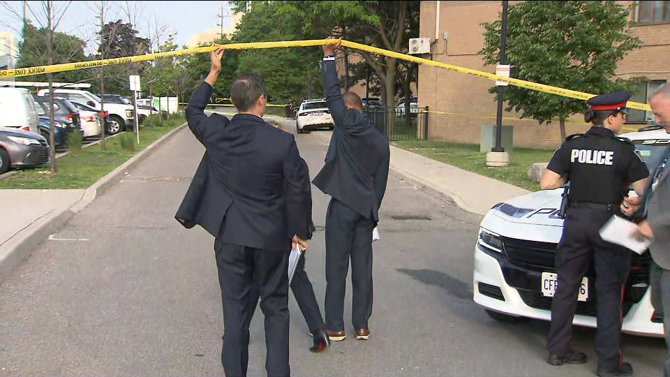 Police are investigating a shooting at a townhouse complex in Brampton.