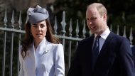 Britain's Prince William and Kate, The Duchess of Cambridge arrive to attend the Easter Mattins Service at St. George's Chapel, at Windsor Castle in England Sunday, April 21, 2019. (AP Photo/Kirsty Wigglesworth, pool)
