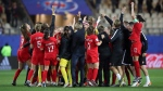 Canada team celebrates at the end of the Women's World Cup Group E soccer match between Canada and New Zealand in Grenoble, France on June 15, 2019. World Cup. THE CANADIAN PRESS/AP, Francisco Seco