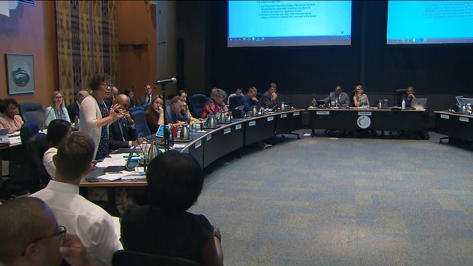 Trustees are pictured at a Toronto District School Board budget meeting Wednesday June 19, 2019.