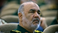 "In this April 24, 2019, Iran's Revolutionary Guard commander Gen. Hossein Salami attends a meeting in Tehran, Iran. Iran's Revolutionary Guard shot down a U.S. drone on Thursday, June 20, 2019, amid heightened tensions between Tehran and Washington over its collapsing nuclear deal with world powers, American and Iranian officials said, while disputing the circumstances of the incident. Salami, speaking to a crowd in the western city of Sanandaj on Thursday, described the American drone as ""violating our national security border."" (Sepahnews via AP )"