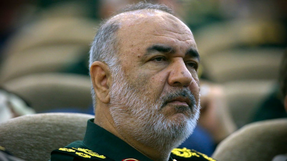 """In this April 24, 2019, Iran's Revolutionary Guard commander Gen. Hossein Salami attends a meeting in Tehran, Iran. Iran's Revolutionary Guard shot down a U.S. drone on Thursday, June 20, 2019, amid heightened tensions between Tehran and Washington over its collapsing nuclear deal with world powers, American and Iranian officials said, while disputing the circumstances of the incident. Salami, speaking to a crowd in the western city of Sanandaj on Thursday, described the American drone as """"violating our national security border."""" (Sepahnews via AP )"""