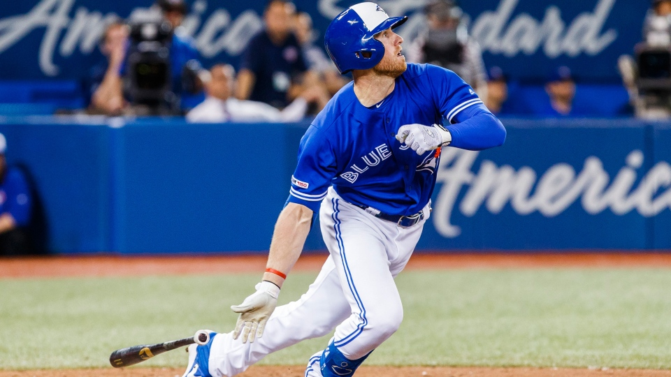 Toronto Blue Jays' Billy McKinney hits a walk-off home run against the Los Angeles Angels during the tenth inning of MLB baseball action in Toronto, Thursday June 20, 2019. THE CANADIAN PRESS/Mark Blinch