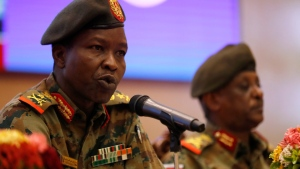 Sudan's ruling Military Council spokesperson Shamseddine Kabbashi, speaks during a press conference at the Presidential Palace, in Khartoum, Sudan, Sunday, June 23, 2019. Sudan's protest movement accepted an Ethiopian roadmap for a civilian-led transitional government, a spokesman said on Sunday, after a months-long standoff with the country's military rulers. (AP Photo/Hussein Malla)