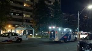 Police respond to a stabbing at an apartment building at Bleecker and Howard streets Sunday June 23, 2019. (Kris Pangilinan /CP24)