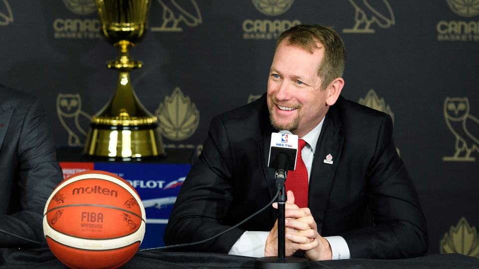 Nick Nurse smiles after being named the new basketball head coach of the Senior Men's National Team of Canada in Toronto on Monday, June 24, 2019. THE CANADIAN PRESS/Nathan Denette