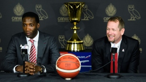 Nick Nurse, right, is introduced by general manager Rowan Barrett as the new basketball head coach of the Senior Men's National Team of Canada in Toronto on Monday, June 24, 2019. THE CANADIAN PRESS/Nathan Denette