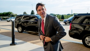 Acting Defense Secretary Mark Esper arrives at the Pentagon in Washington, Monday, June 24, 2019. (AP Photo/Andrew Harnik)