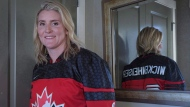 Four time Olympic gold medalist Hayley Wickenheiser poses for a portrait in Calgary on January 11, 2017. THE CANADIAN PRESS/Jeff McIntosh