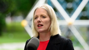 Minister of Environment and Climate Change, Catherine McKenna, makes an announcement on how the federal government will allocate a portion of the proceeds collected as a result of carbon pollution pricing during a press conference in Ottawa on Tuesday, June 25, 2019. THE CANADIAN PRESS/Sean Kilpatrick