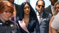Grammy-winning rapper Cardi B arrives for a hearing at Queens County Criminal Court, Tuesday, June 25, 2019 in the Queens borough of New York. (Uli Seit/The New York Times via AP, Pool)