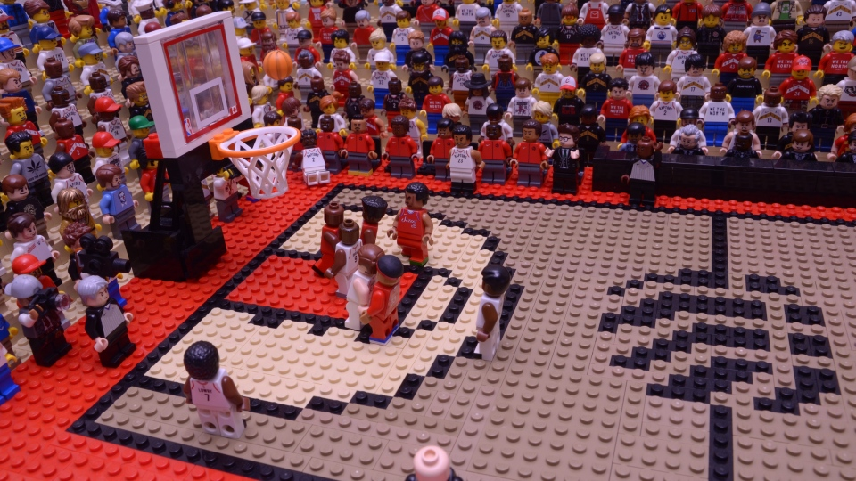 A scene from a viral stop-motion video of Kawhi Leonard's buzzer-beater moment created by Jared Jacobs is seen in this handout photo. Calgary-raised stop-motion animator Jared Jacobs is a big Toronto Raptors fan and wants star player Kawhi Leonard to stay with the NBA Championship team. So to help convince the soon-to-be free agent, Jacobs has turned to his own area of expertise: Lego. THE CANADIAN PRESS/HO, Jared Jacobs