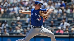Toronto Blue Jays starting pitcher Trent Thornton throws during the first inning of a baseball game against the New York Yankees at Yankee Stadium, Wednesday, June 26, 2019, in New York. (AP Photo/Seth Wenig)