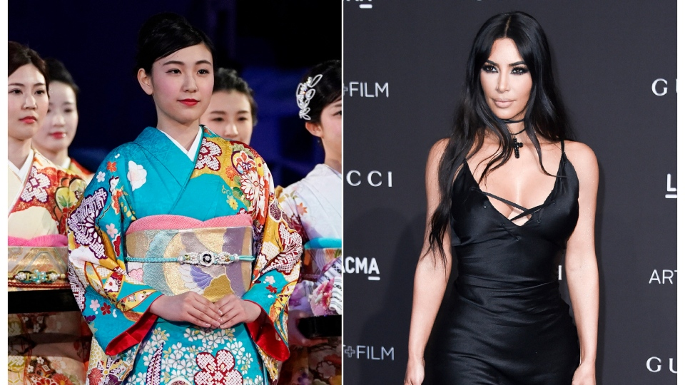 This combination photo shows a woman wearing a kimono during an award ceremony of the ISU World Team Trophy Figure Skating competition in Fukuoka, Japan on April 13, 2019, left, and reality star Kim Kardashian West at the 2018 LACMA Art+Film Gala in Los Angeles on Nov. 3, 2018.  (AP Photo/Toru Hanai, left, and Richard Shotwell/Invision/AP)