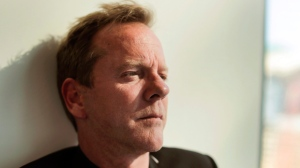 Toronto-raised actor-musician Kiefer Sutherland says it wasn't his intention to stir the political pot with a recent tweet directed at Ontario Premier Doug Ford. Sutherland poses for a photo during an interview in New York City on Aug. 13, 2016. THE CANADIAN PRESS/AP-Julie Jacobson