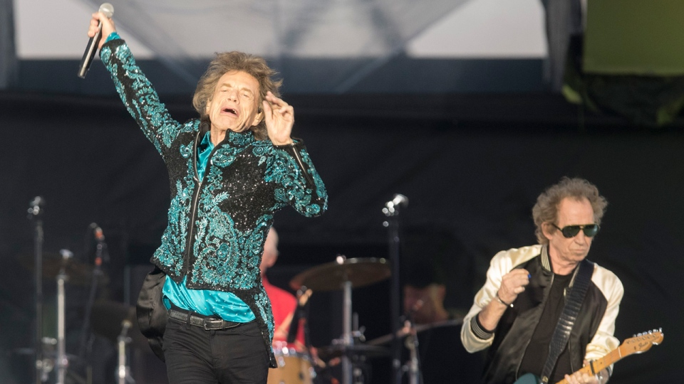 """The Rolling Stones perform during the """"No Filter"""" tour in Oro-Medonte, Ont., on Saturday, June 29, 2019. THE CANADIAN PRESS/Fred Thornhill"""