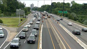 The Don Valley Parkway is seen during maintenance work on July 2, 2019.