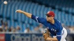 Toronto Blue Jays starting pitcher Aaron Sanchez throws during second inning American League MLB baseball action against the Baltimore Orioles, in Toronto on Friday, July 5, 2019. THE CANADIAN PRESS/Fred Thornhill