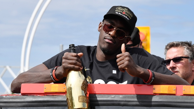 Toronto Raptors forward Pascal Siakam celebrates during the 2019 Toronto Raptors Championship parade in Toronto on Monday, June 17, 2019. THE CANADIAN PRESS/Frank Gunn