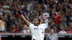 Vladimir Guerrero Jr., of the Toronto Blue Jays, reacts during the Major League Baseball Home Run Derby, Monday, July 8, 2019, in Cleveland. The MLB baseball All-Star Game will be played Tuesday. (AP Photo/John Minchillo)