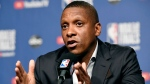 In this May 29, 2019, file photo, Toronto Raptors basketball team general manager Masai Ujiri speaks during a NBA basketball media availability in Toronto. (Frank Gunn/The Canadian Press via AP, File)