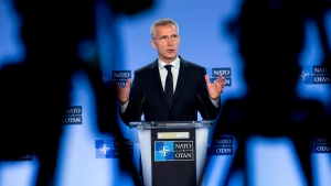 NATO Secretary General Jens Stoltenberg speaks during a media conference at NATO headquarters in Brussels, Friday, July 5, 2019.NATO's secretary-general is visiting Canada next week. Prime Minister Justin Trudeau's office says he and Jens Stoltenberg will meet at CFB Petawawa in Ontario on Monday, and then Stoltenberg will go on to Toronto for a speech. THE CANADIAN PRESS/AP, Virginia Mayo