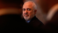 In this March 10, 2019, file photo, Iranian Foreign Minister Mohammad Javad Zarif attends a press conference with his Iraqi counterpart Mohamed Alhakim at the Ministry of Foreign Affairs building in Baghdad, Iraq. Zarif for the first time suggested his country's ballistic missile program could be on the table for negotiations with the U.S. - if America stops selling arms to its Gulf allies in the Mideast, Monday night, July 15, 2019. (AP Photo/Hadi Mizban, File)