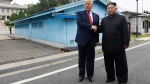 In this June 30, 2019, file photo, U.S. President Donald Trump, left, meets with North Korean leader Kim Jong Un at the border village of Panmunjom in the Demilitarized Zone, South Korea. North Korea on Tuesday, July 16, 2019, says it is rethinking whether to abide by its moratorium on nuclear and missile tests and other steps aimed at improving ties with the U.S. (AP Photo/Susan Walsh, File)